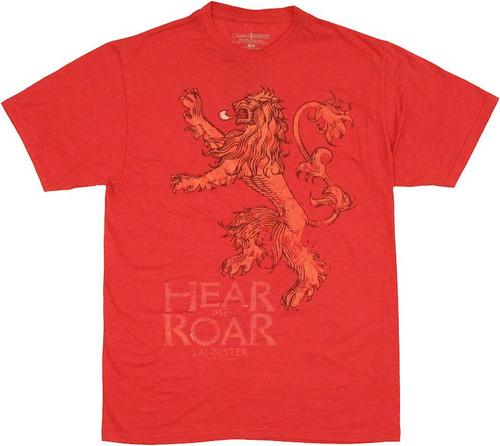 Game of Thrones Lannister Roar T Shirt Sheer