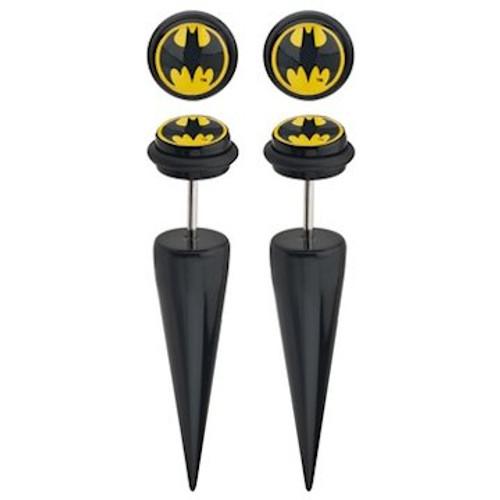 Batman Round Logo Faux Taper Earrings