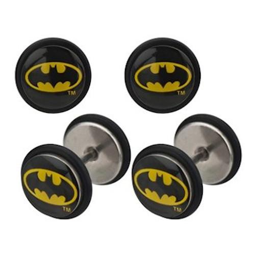 Batman Oval Logo Faux Plug Earrings