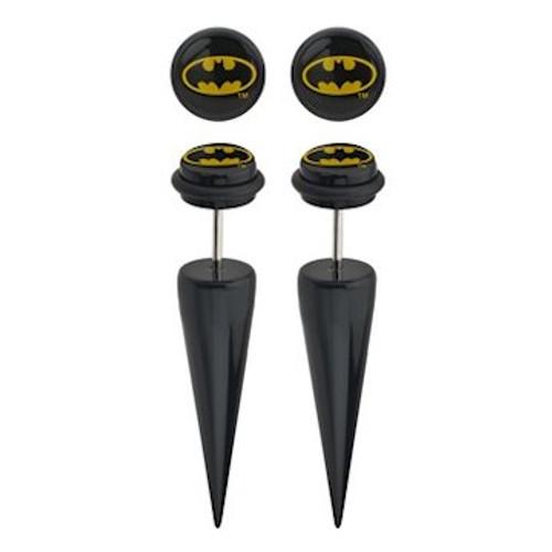 Batman Oval Logo Faux Taper Earrings