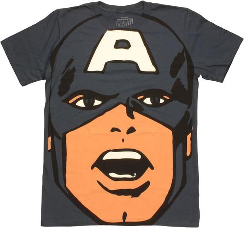 Captain America Huge Head T Shirt Sheer
