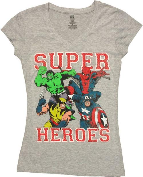 Avengers Superheroes V Neck Baby Tee