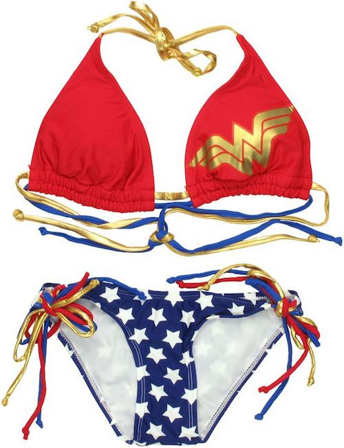 Wonder Woman Triangle String Bikini Swimsuit