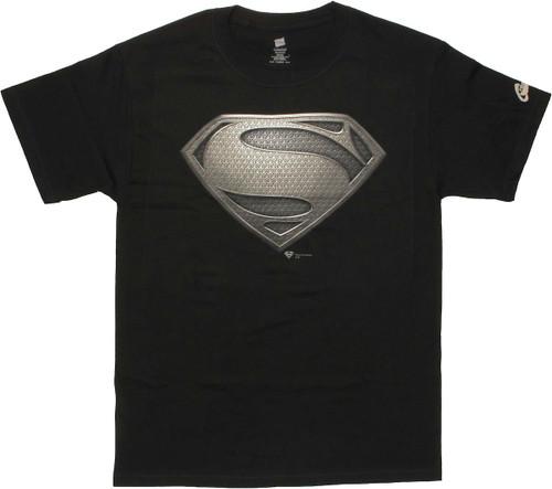 Superman Man of Steel Logo Black T Shirt