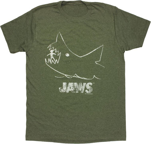 Jaws Chalk Heathered T Shirt Sheer