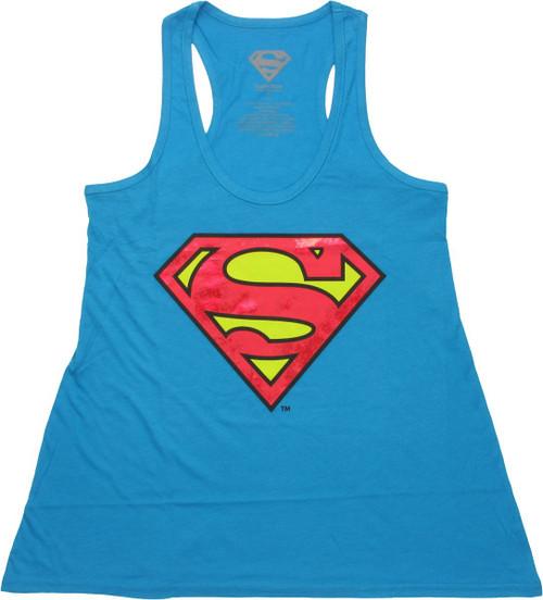 Superman Foil Logo Tank Top Ladies Tee