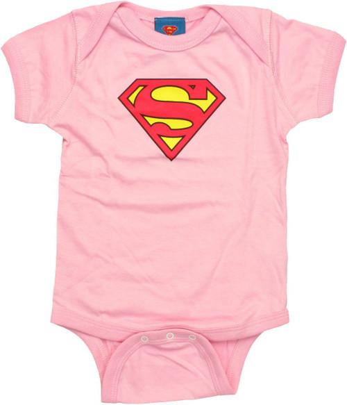 Superman Logo Pink Snap Suit