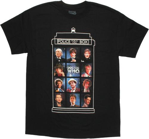 Doctor Who 11 Doctors TARDIS T Shirt