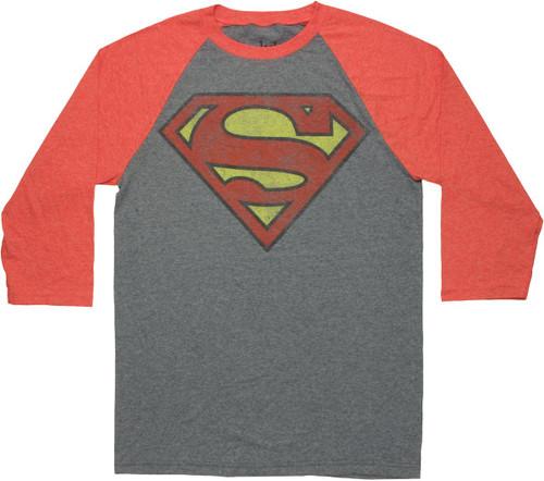 Superman Vintage Logo 3/4 Raglan T Shirt Sheer