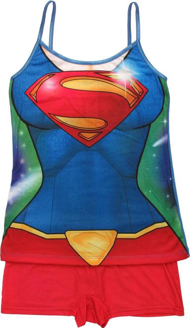 Supergirl Suit Cami and Shorts Junior Pajama Set