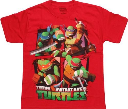 Ninja Turtles Action Grid Youth T Shirt