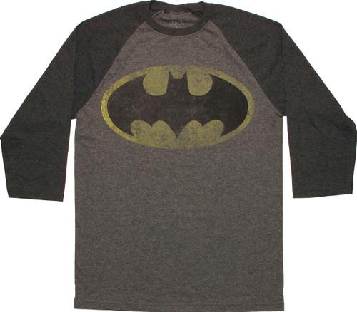 Batman Vintage Logo 3/4 Raglan T Shirt Sheer