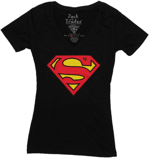 Superman Logo Black V Neck Baby Tee