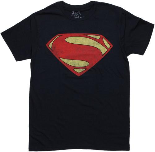 Superman Man of Steel Vintage Logo T Shirt Sheer