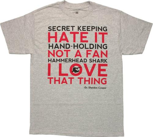 Big Bang Theory Love Hate List T Shirt