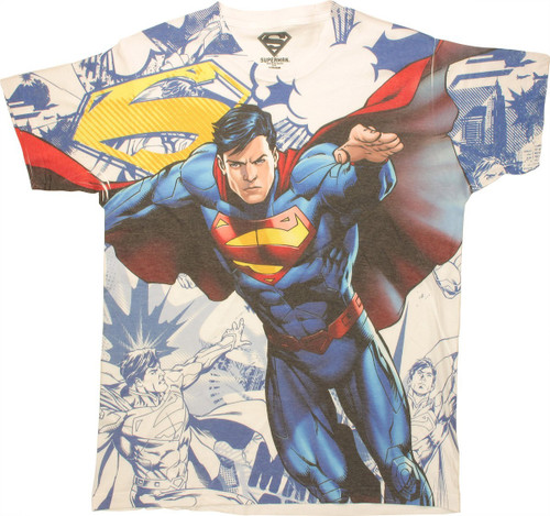 Superman Action Collage Sublimated T Shirt Sheer
