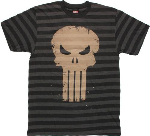 Punisher Stripes Skull T Shirt Sheer