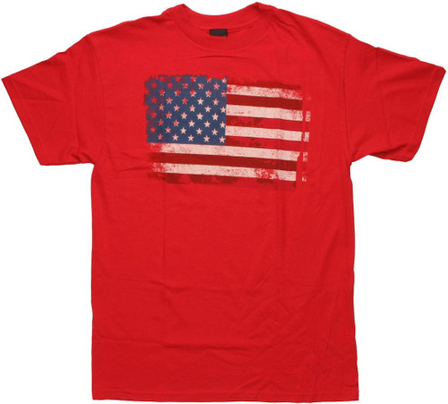 Flag Faded USA Red T Shirt