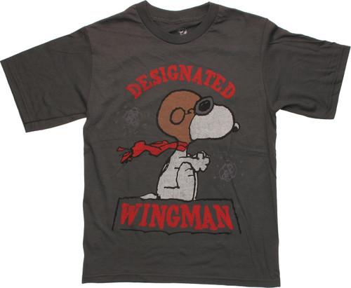 Peanuts Snoopy Wingman Gray Youth T Shirt