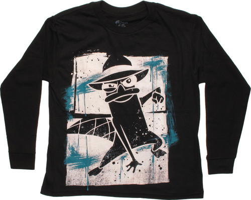 Phineas and Ferb Blue Streak Long Sleeve Youth T Shirt