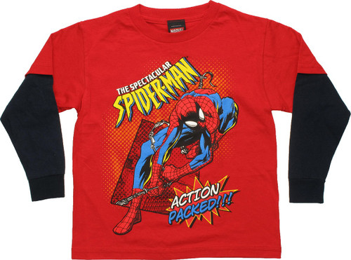 Spiderman Action Packed Long Sleeve Juvenile T Shirt
