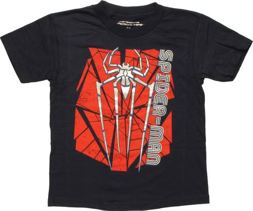Spiderman Foil Logo Name Juvenile T Shirt