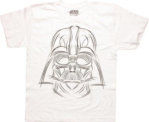 Star Wars Darth Sketch White Youth T Shirt