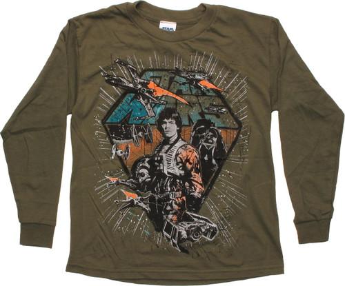 Star Wars Skywalker Pilot Olive Long Sleeve Youth T Shirt