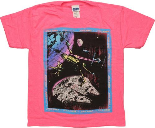 Star Wars Framed Battle Pink Juvenile T Shirt