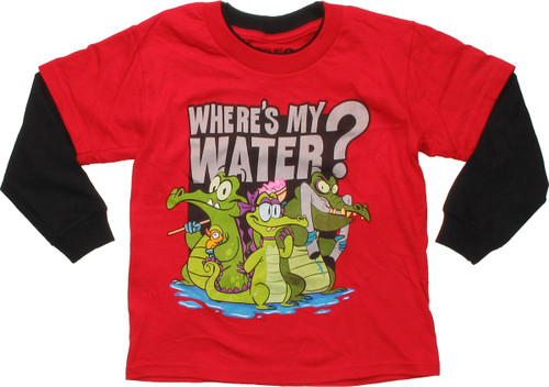 Where's My Water Group Red Long Sleeve Juvenile T Shirt