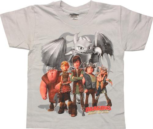 Dragons Riders of Berk Cast Juvenile T Shirt