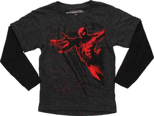 Spiderman Red Splatter Long Sleeve Juvenile T Shirt
