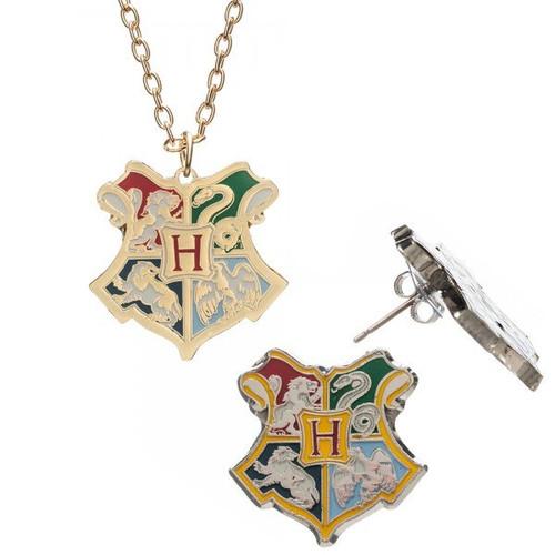 Harry Potter Hogwarts Crest Necklace Earrings Jewelry Set