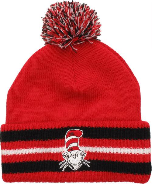 Dr Seuss Cat Hat Striped Cuff Pom Beanie beanie-dr-seuss-cat-stripe-cuff-pom 14782d9bb889