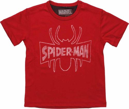 Spiderman Vintage Outline Logo Mesh Juvenile T Shirt