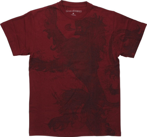 Game of Thrones Large Lion Dark Red T Shirt