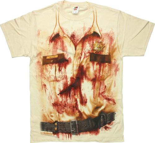 Walking Dead Rick Bloody Uniform T Shirt