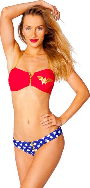 Wonder Woman Zipper Bandeau Low Rise Bikini Swimsuit