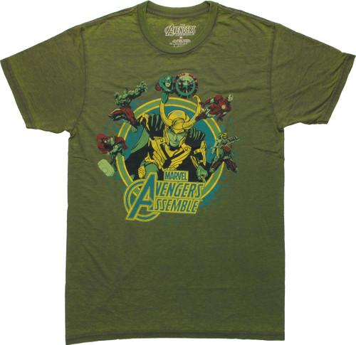 Avengers Around Loki Burnout T Shirt Sheer