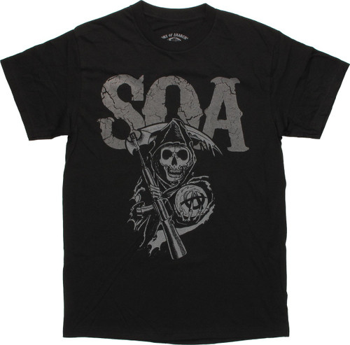 Sons of Anarchy Cracked SOA Black T Shirt