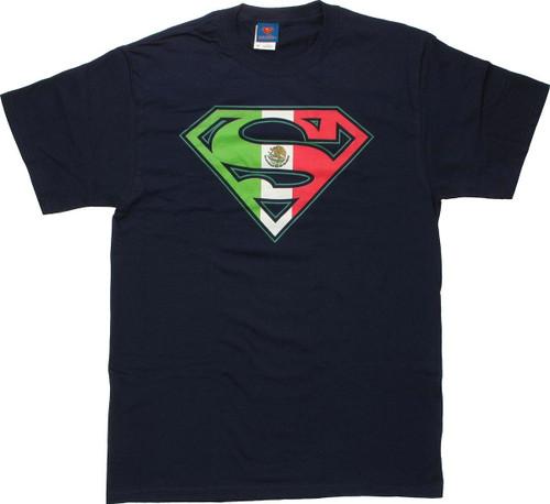 Superman Mexican Flag Logo Navy T Shirt