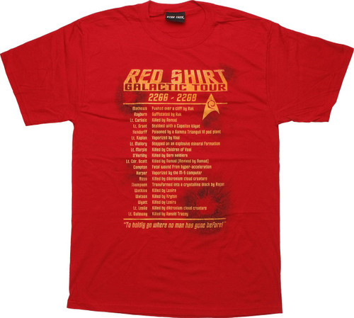 Star Trek Red Shirt Galactic Tour T Shirt