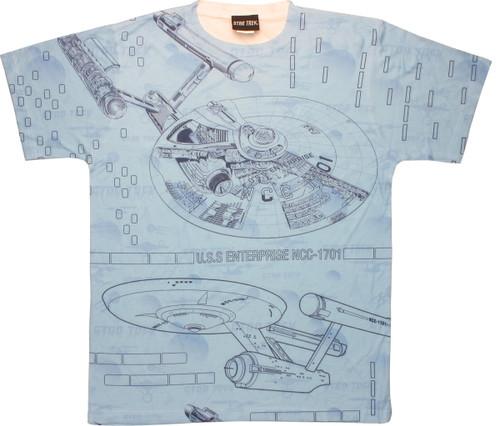 Ships Blueprint Adult All Over Print 100/% Poly T-Shirt Star Trek