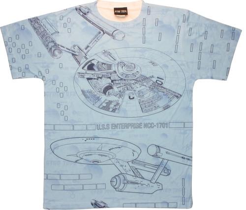 Star Trek Enterprise Blueprints Sublimated T Shirt