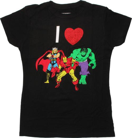 Avengers Glitter Heart Trio Baby Tee