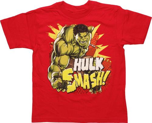 Incredible Hulk Smash Red Youth T Shirt