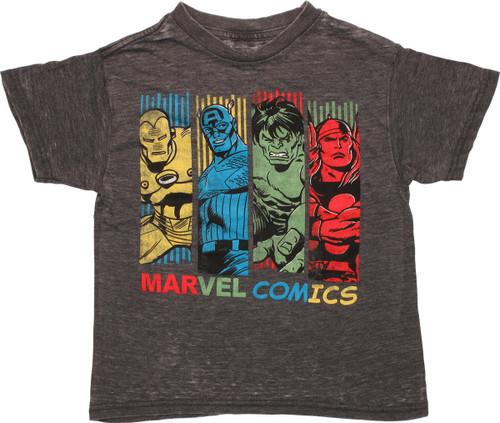 Avengers Hue Bars Charcoal Burnout Juvenile T Shirt