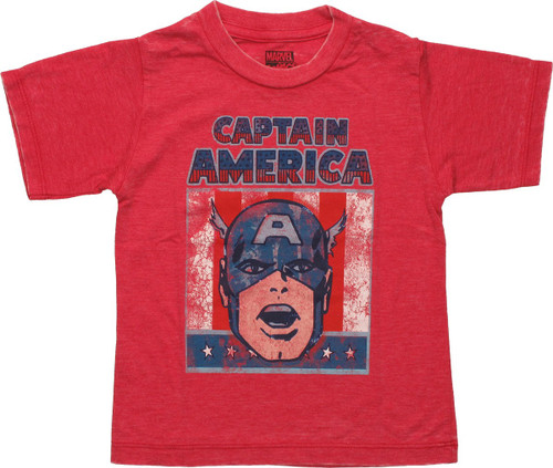 Captain America Head Flag Burnout Toddler T Shirt