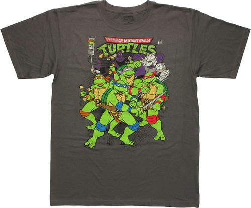 Ninja Turtles Vintage Comic Cover Charcoal T Shirt