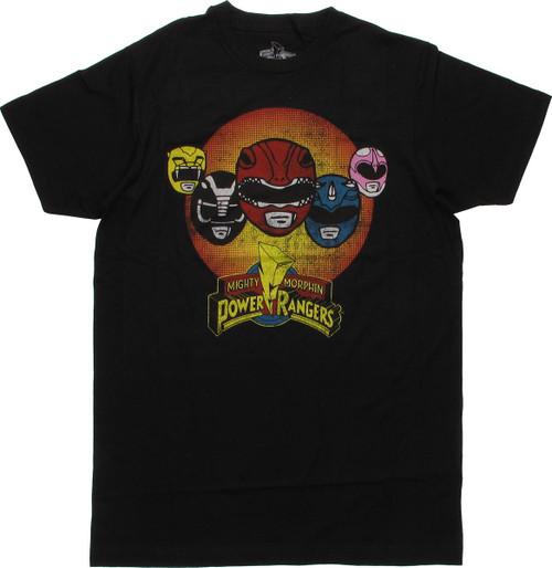 Power Rangers Helmets Circle T Shirt Sheer